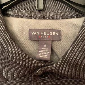 Gray Striped Short Sleeve Van Heusen Polo Shirt M